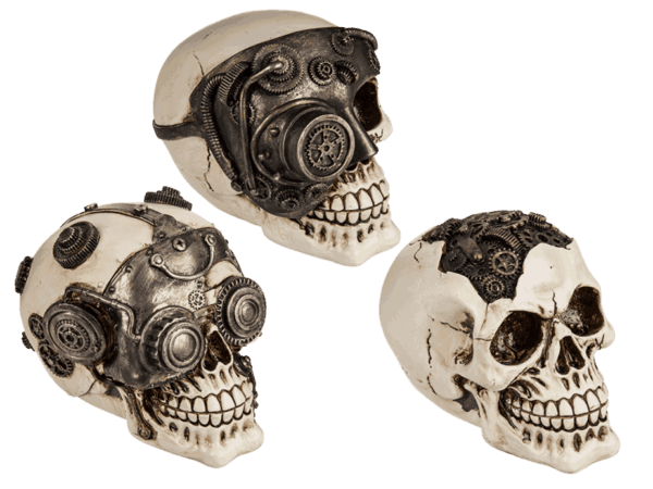 Polyresin-Totenkopf Cyborg